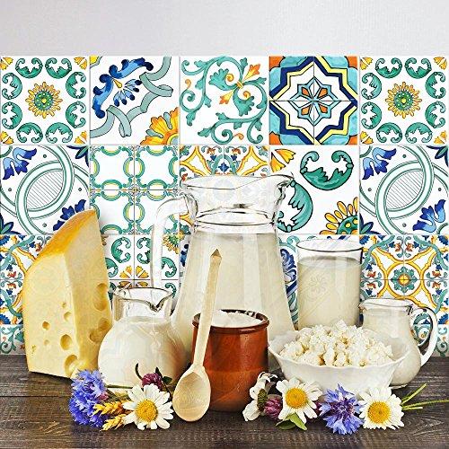 Adesivi per piastrelle bagno e cucina 10 Pz 20x20 cm - PS00047 Made in Italy - Mattonelle autoadesive in PVC impermeabili antigraffio Wall stickers cementine peel and stick