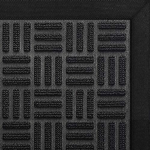 DEXI Door Mat Large Front Indoor Entrance Outdoor Doormat,Heavy Duty Rubber Outside Floor Rug for Entryway Patio Waterproof Low-Profile,2'x4',Black