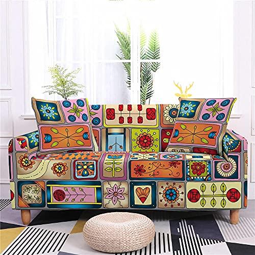 Fundas para Sofa 1 Plaza Funda de Sofa Elastica Cubre Sofa Cubresofá Funda Cubierta para sofá Ajustable Protector Lavable Funda de sillón para sofá 90-130cm, Color de Dibujos Animados a Cuadros B