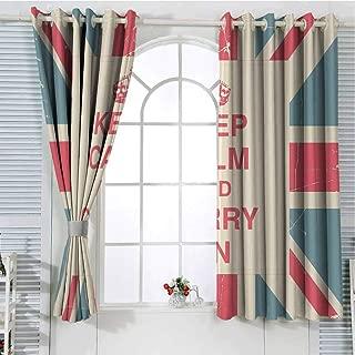 Jinguizi Grommet Window Curtain Room Decor for Boys Keep Calm,Keep Calm and Carry On Text Against The British Flag with Aged Look,Peach Dark Coral Blue Short Curtain 63 x 45 inch