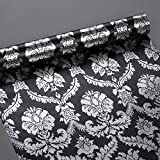 Yifely SimpleLife4U Silver Damask Furniture Paper Decorative Black Shelf Drawer Liner Peel & Stick 17x118 Inches by SimpleLife4U