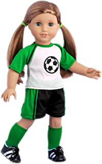 DreamWorld Collections - Soccer Girl - 4 Piece Soccer Outfit - Shirt, Shorts, Socks and Shoes - Clothes Fits18 Inch American Girl Doll (Doll Not Included)