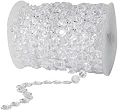 Unilove 99FT Acrylic Plastic Crystal Clear Beads String for Chandelier Curtains for Doorways Decoration 1 Roll (Type 1)