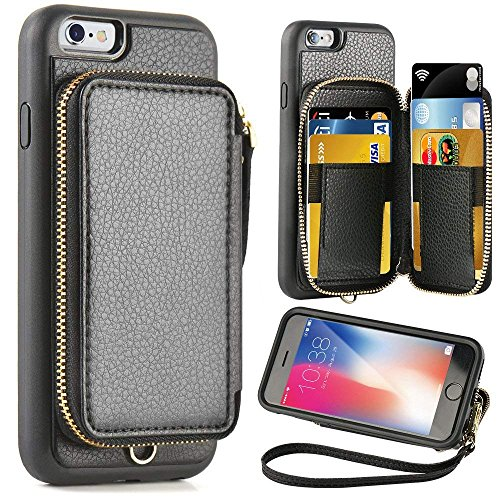 ZVE Case for Apple iPhone 6s and iPhone 6, 4.7 inch, Leather Wallet Case with Credit Card Holder Slot Zipper Wallet Pocket Purse Handbag Wrist Strap Protective Cover for Apple iPhone 6s / 6 - Black