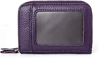 Increased Leather Card Holder Double Zipper Leather Wallet Multifunction RFID Anti-Theft Credit Card Cover Unisex (Color : Purple, Size : S)