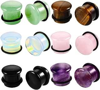 12pcs Stone Ear Gauges Flesh Tunnels Plugs Stretchers Expander 6 colors 2g-5/8