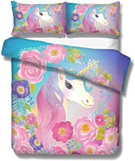 ADASMILE A & S Unicorn Duvet Cover Set Cute Magical Bedding Set with Flowers for Girls and Kids Gifts for Teens or Unicorn...