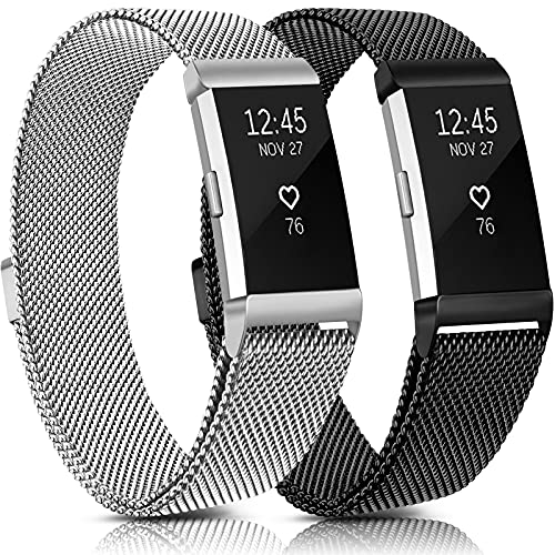 Meliya Metal Bands Compatible with Fitbit Charge 2, Stainless Steel Magnetic Lock Replacement Wristbands for Fitbit Charge 2 Women Men Small Large (Large, Black+Silver)