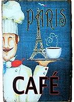 Charming Crew 復古調 ブリキ看板 アメリカン ガレージ パリ カフェ Paris Caffe Caf? 復刻版 アンティーク風 雑貨 おしゃれ インテリア