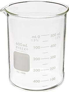 Corning Pyrex 1000-600 شیشه 600mL فارغ التحصیل با فرم کم Griffin Beaker ، فاصله 50 میلی لیتر فارغ التحصیلی ، با مقیاس دو برابر