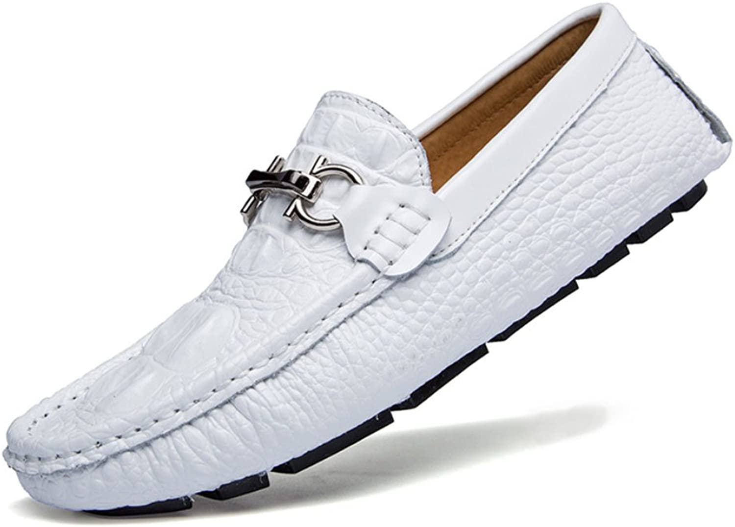 HAOYUXIANG Outdoor Leisure driving shoes trend lazy shoes male shoes British leather alligator bean shoes (color   White, Size   40)