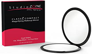 StudioZONE Compact Mirror 10X Magnifying Makeup Mirror Perfect For Purses Travel 2Sided With 10X Magnifying Mirror And 1X Mirror Classz Black