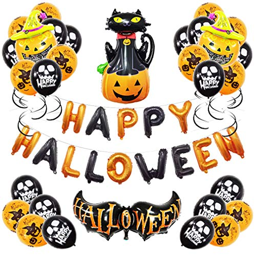 Sxfcool Halloween Party Decoration Set, 12-Inch Round Halloween Balloons, for KTV Bar Party Halloween Decoration