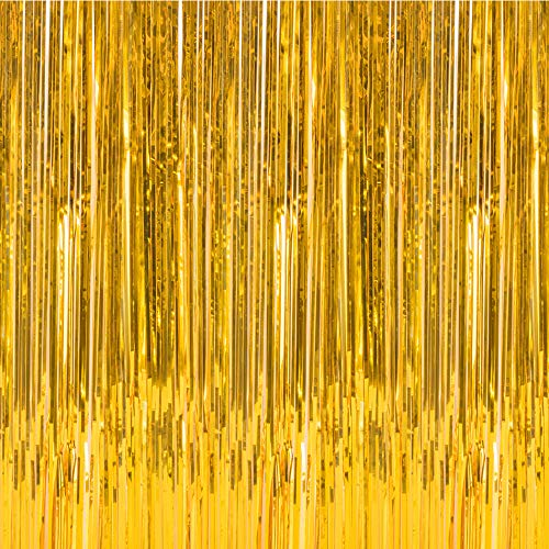 Foil Fringe Metallic Decorative Curtains,Tinsel Shinning Curtains Perfect for Photo Booth Party/Window/Door Decorative Fringe Curtains,1 Pic Gold(3FTX8FT)