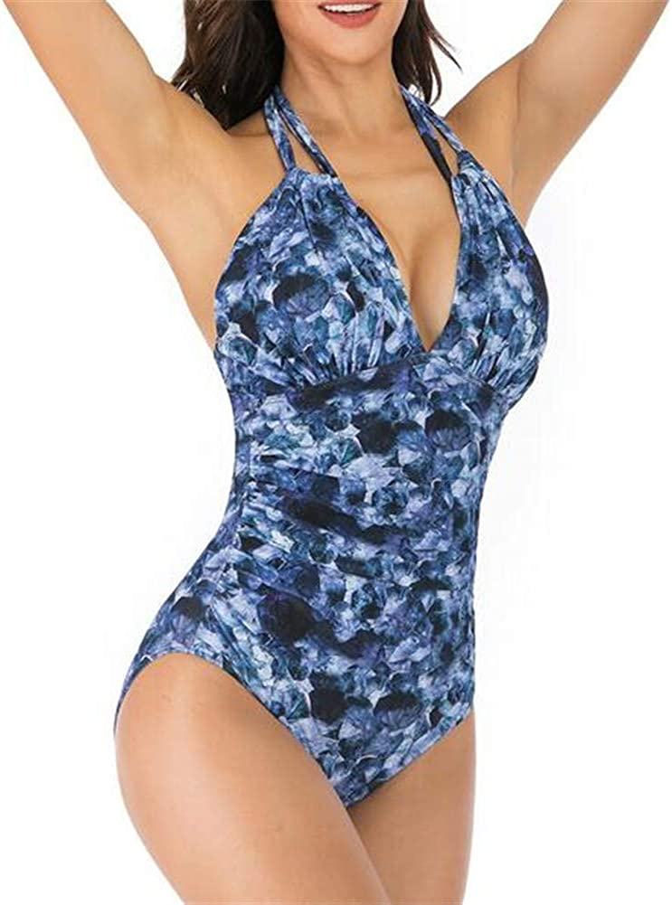 Women's One Pieces Halter Lace Up Swimsuits Training Bathing Suit Beach Swimwear Tummy Control
