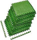 Sorbus Grass Mat Interlocking Grass Tiles – Soft Artificial Carpet Grass Turf – Multipurpose Fake Grass Flooring – for Deck, Patio, Playrooms, Borders Included (12 Tiles, 48 Sq ft)