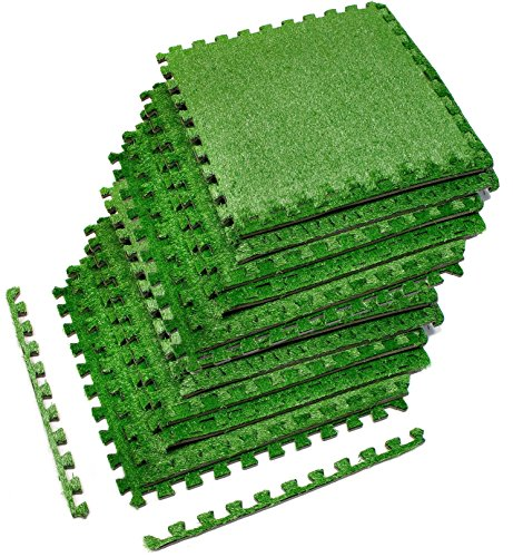 Sorbus Grass Mat Interlocking Grass Tiles - Soft Artificial Carpet Grass Turf - Multipurpose Fake Grass Flooring - for Deck, Patio, Playrooms, Borders Included (12 Tiles,48 Sq ft)