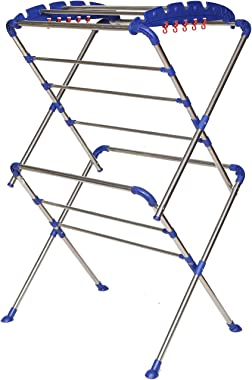 Happer Premium Extra Large Cloth Drying Stand, Stainless Steel, Sumo (White & Blue)