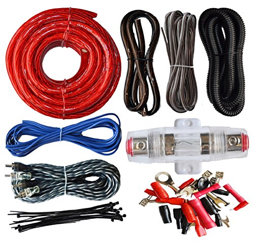 Absolute USA 4 Gauge Amp Kit Amplifier Install Wiring Complete 4 Ga Installation Cables 2200W