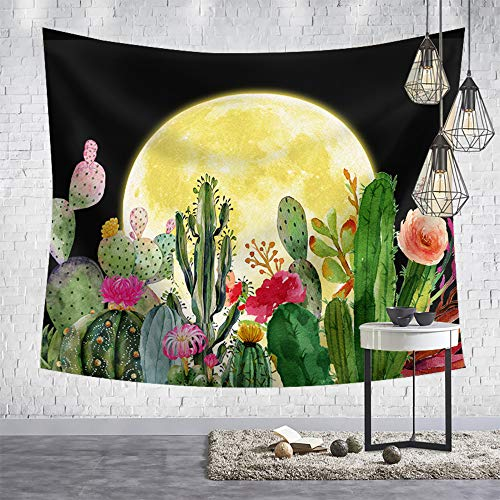 OCCIGANT Moon Cactus Printed Tapestry Wall Hanging Watercolor Tropical Succulent Plant Full Sunset Agave Rose Flower Black Night Starry Sky Wall Art Blanket for Living Room Bedroom Dorm Room.