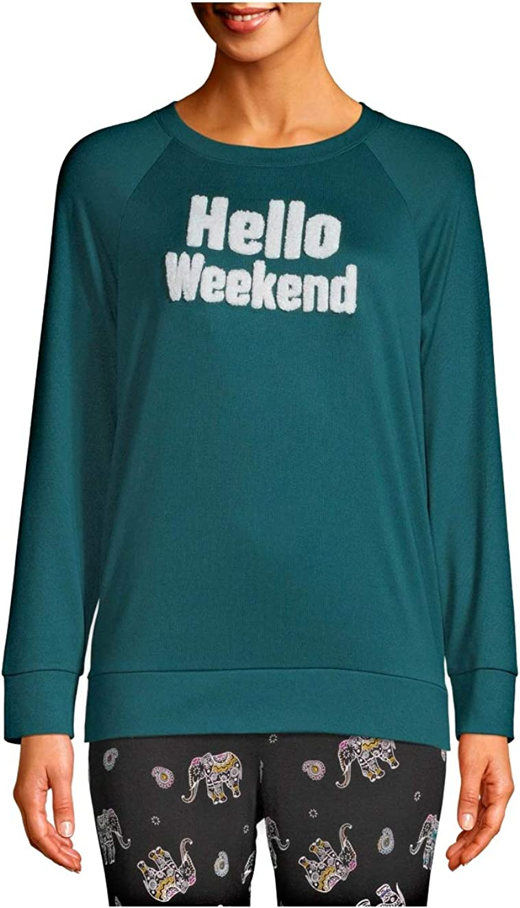 Hello Weekend Teal Rain Long Sleeve Hacci Sleep Top