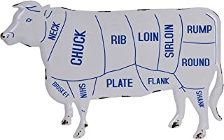 NIKKY HOME Rustic Beef Meat Cow Cuts Butchers Chart Farmhouse Or Farm Decor Wall Plaque, White