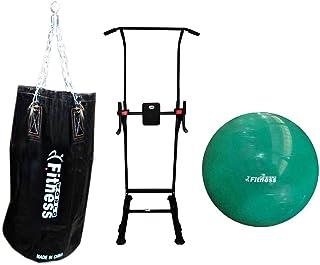 حقيبة رمل فارغة لممارسة الملاكمة من فيتنس وورلد، مقاس 60 سم مع مسند وكرة يوغا من فيتنس وورلد، بلون اخضر، 75 سم