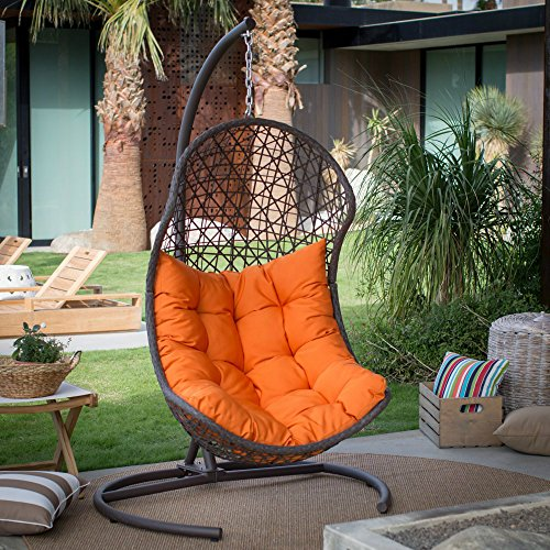 Resin Wicker Hanging Egg Swing Chair for Indoor Outdoor Patio Backyard, Stylish Comfortable Relaxing...