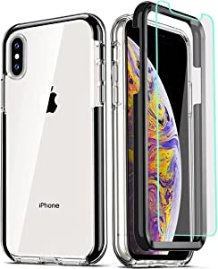 COOLQO Compatible for iPhone Xs Max Case 6.5 Inch, with [2 x Tempered Glass Screen Protector] Clear 360 Full Body Coverage Silicone Protective Shockproof for iPhone Xs Max Cases Phone Cover - Black