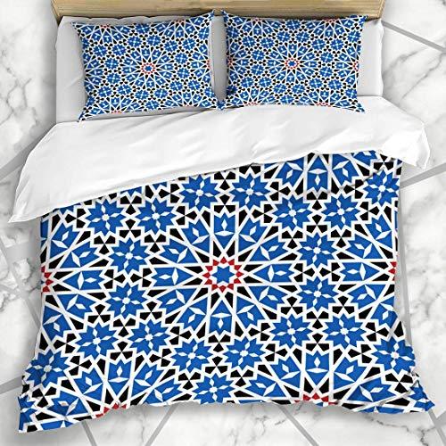 226 MILAIDI Bettwäschesets Granada Marokkanisches Marokko Muster Arabische Emirate Arabische Geometrische Abstrakte Alhambra Antike Ethnische Mikrofaser Bettwäsche mit 2 Kissenbezügen