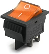 Aexit AC 250V/125V Control electrical 15A/20A DPST ON-OFF 2 Position 4-Pin Soldering Snap in Mount Yellow Lamp Boat Rocker Switch