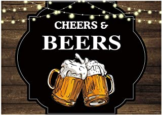 Funnytree 7x5FT Cheers and Beers Photography Backdrop for 30th 40th 50th Birthday Party Banner Rustic Glitter Wood Background Photo Booth