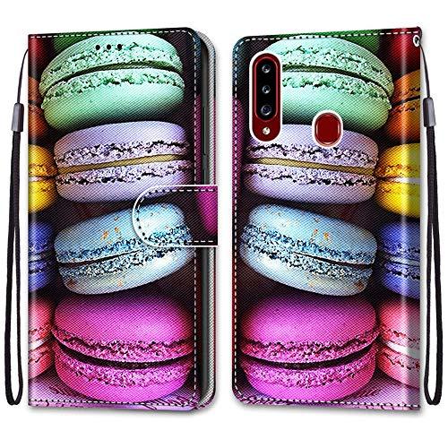 Nadoli Handyhülle Leder für Samsung Galaxy A20S,Bunt Bemalt Sandwich Kuchen Trageschlaufe Kartenfach Magnet Ständer Schutzhülle Brieftasche Ledertasche Tasche Etui