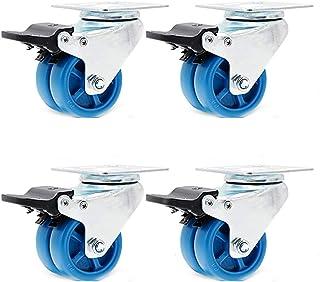 Caster wielen 38MM/50MM,Swivel Castor Wheel,Capaciteit 250 kg (550 lbs), Blauw nylon wiel, roterende montageplaat, dubbele...