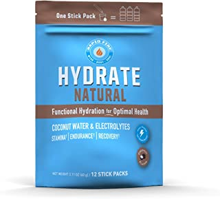 Rapidfire Hydrate Powder, Drink Mix, Stick Packs, Coconut Water, Electrolytes, Equals 3 Bottles of Water, Natural Flavor, ...