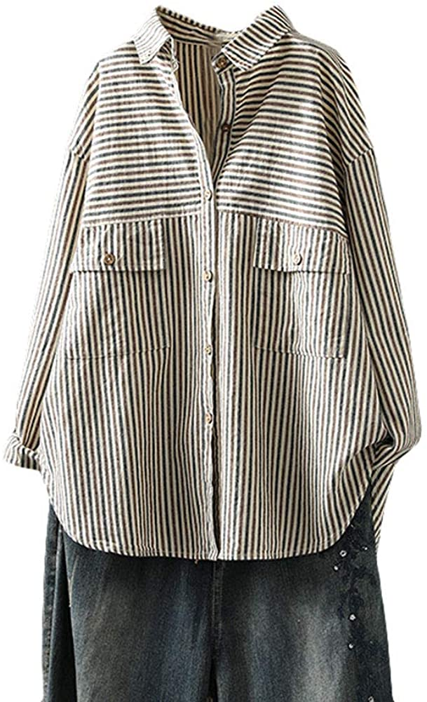 Minibee Women's Stripes Tunic Shirt Long Sleeve Shirt Button Front Blouse With Pockets