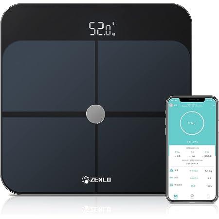 【2021年最新版】ZENLO 体重計 体組成計 体脂肪計 Bluetooth デジタル 高精度 体重/体脂肪率/体水分率/筋肉量/内臓 脂肪/タンパク質/BMI測定可能 ボディスケール 電源自動ON/OFF 薄型 健康管理 肥満予防 iOS/Android 対応 スマホでデータ管理