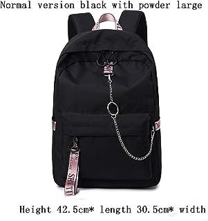 CZHJG Schoolgirl Middle School Campus Coreano Harajuku Tide Mochila Color Sólido Mochila Varios Estilos Opcional Negro con Rosa Gran Edición Normal