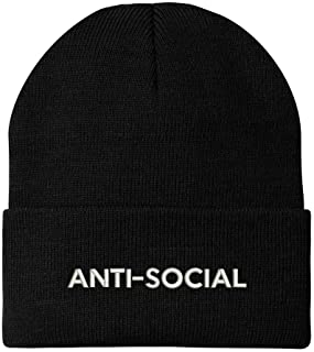Anti Social Embroidered Winter Long Cuff Beanie