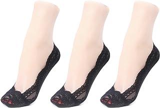 Gather Other, 3 Pares Mujer Calcetines Invisibles de Encaje con Silicona Anti-Deslizante Colores Negro