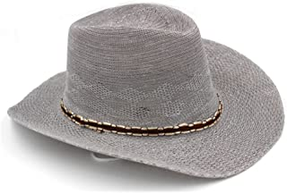 ZRL77y Sunscreen Hat, Men's Summer Outdoor Wide-Brimmed Beach Western Cowboy Visor Hat Mountain Fishing Fisherman Hat with Adjustable Chin Band (Color : Gray)
