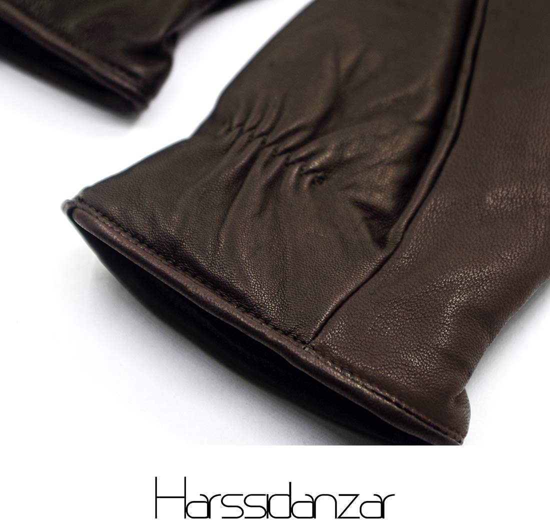 Harssidanzar mens Lambskin Leather Mittens Gloves Thermolite Lined GM033,Brown,Size S