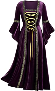 ANJUNIE Womens Medieval Costume Maxi Dress Renaissance Lace Up Cosplay Retro Gown Robe Long Dress