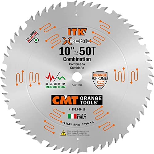 2021 CMT high quality 256.050.10 ITK Industrial Combination Saw Blade, 10-Inch discount x 50 Teeth 1FTG+4ATB Grindwith 5/8-Inch Bore sale
