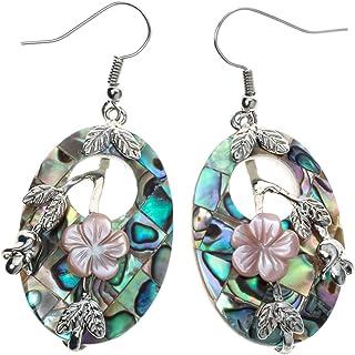 YACQ Women's Abalone Shell Flower Dangle Earrings - 2 Inch - Ultra Light