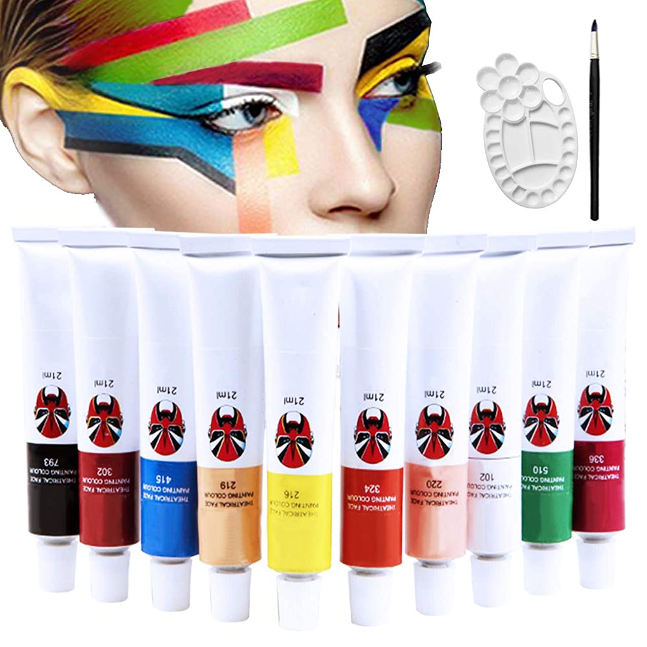 Happlee 10 Colors Face and Body Paint Set with Brush and Palette Non-Toxic Professional Facepaints Moisturizing Face Painting for Kids & Adults for Party, Halloween, Carnival(1.76 fl.oz)
