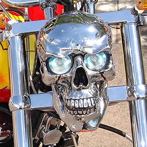 Faro de Calavera en el Faro Real, lámpara de Calavera de Motocicleta LED Universal Hecha a Mano, Faro de Calavera de Metal Cromado Retro, devuelve tu Bicicleta a la Vida (Shut up)