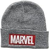 Marvel Herren Logo Strickmütze, grau, one Size