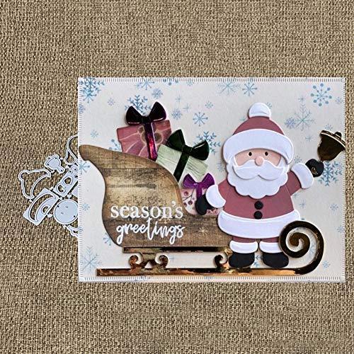 Litty089 - Fustella in metallo a forma di Babbo Natale per decorazioni fai da te, album di ritagli, biglietti, decorazioni artigianali, Argento