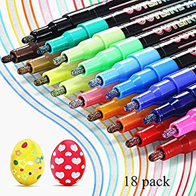 18 Colors Self Outline Metallic Markers, Magic ...